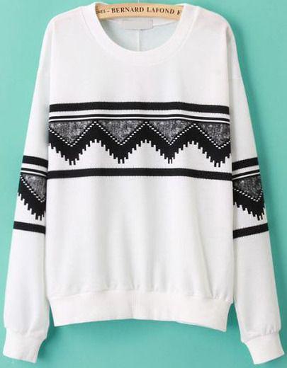 Round Neck Patterns Geometric Print Sweatshirt -SheIn(Sheinside) Mobile Site