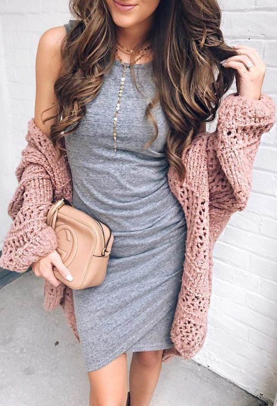 #winter #outfits gray sleeveless bodycon wrap dress and brown knitted cardigan
