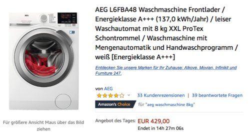 Aeg L6fba48 Waschmaschine Mit 8 Kg Xxl Protex Schontrommel
