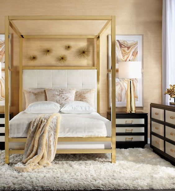 How To Use A Four Poster Bed Canopy To Good Effect: Gold Canopy Bed Decorating Bedroom Modern Z Gallerie