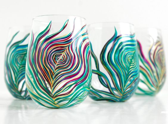 Regal Peacock Stemless Wine Glasses--4 Piece Peacock Feather Collection by Mary Elizabeth Arts