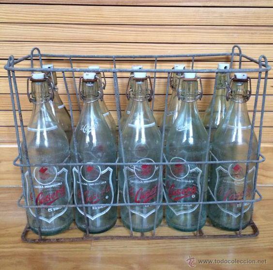 caja de metal para 10 botellas gaseosa La Casera