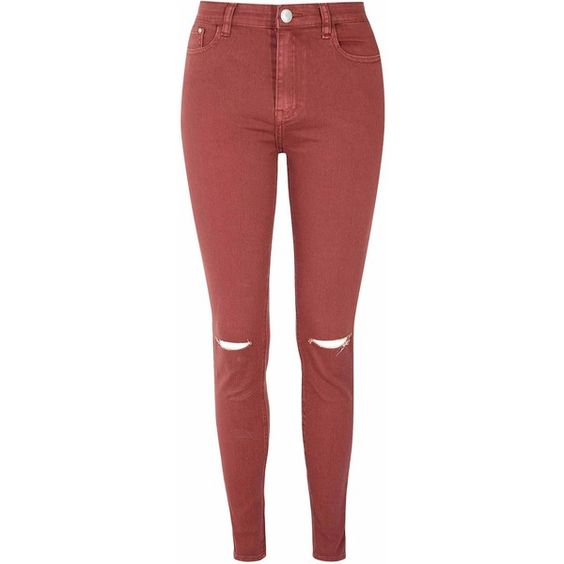 Rust Ripped Knee Skinny Jeans ($44) ❤ liked on Polyvore featuring
