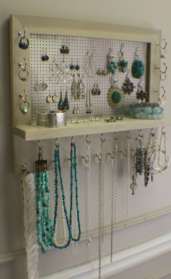 Chrome Sun Bleached Stained Wall Mounted Jewelry Organizer Wall Organizer Jewelry Display