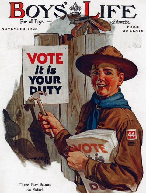 """Vote it is your duty,"" Boys' Life, November 1928"