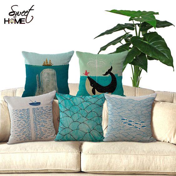 pas cher coton lin 18 bleu mer srie poissons imprim dcoratif la maison throw - Coussin Color Pas Cher