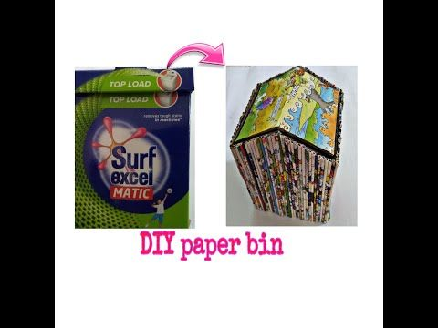 Best Out Of Waste Diy Paper Bin From Surf Excel Box Youtube Diy Paper Best Out Of Waste Kids Study Table