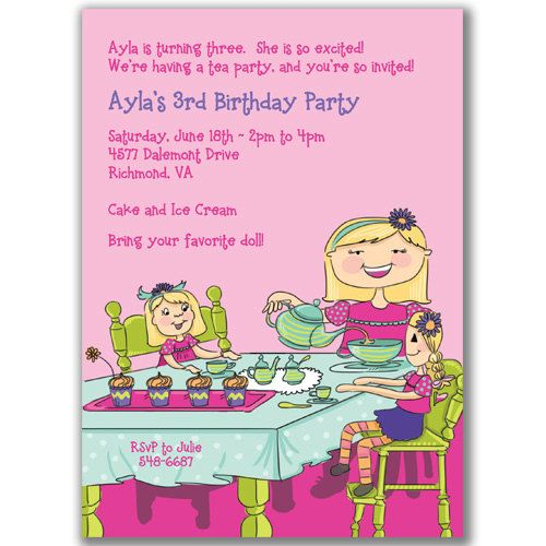 Doll Tea Party Invitations for Kids Birthday Party 2200 via – Doll Party Invitations