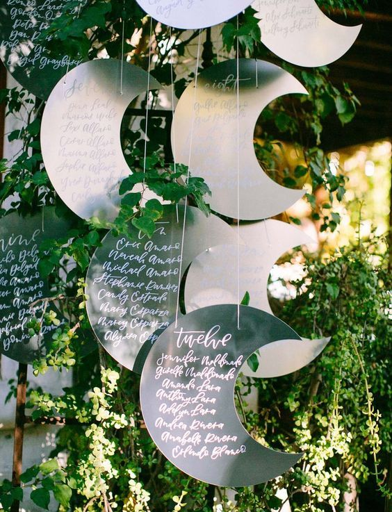 26 Metal Crescent Moon Seating Chart In The Greenery Is A Cute Idea To Rock Weddingomania Seating Chart Wedding Celestial Wedding Moon Wedding