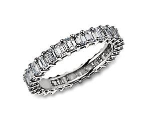 Emerald Cut Diamond Eternity Ring in Platinum from #bluenile. Similar to Marilyn Monroe's wedding band from Joe DiMaggio #BlueNile