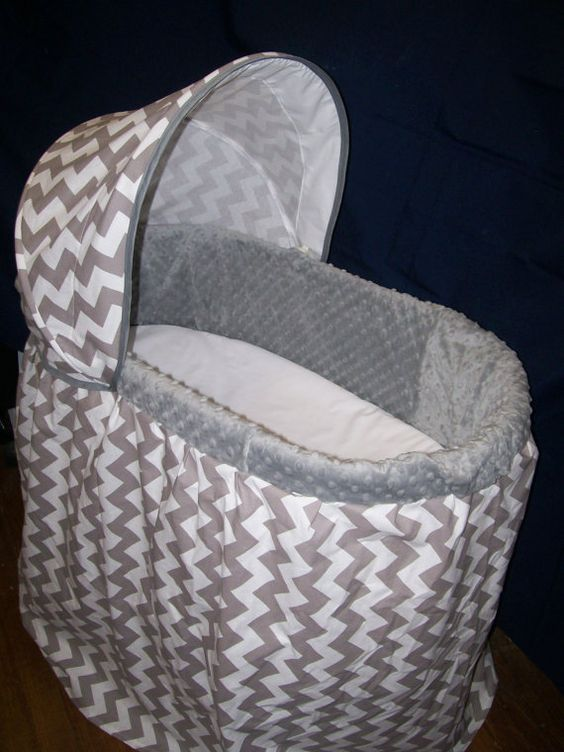 Custom Chevron and Minky Bassinet Covers by QuinnsQuilts on Etsy, $115.00