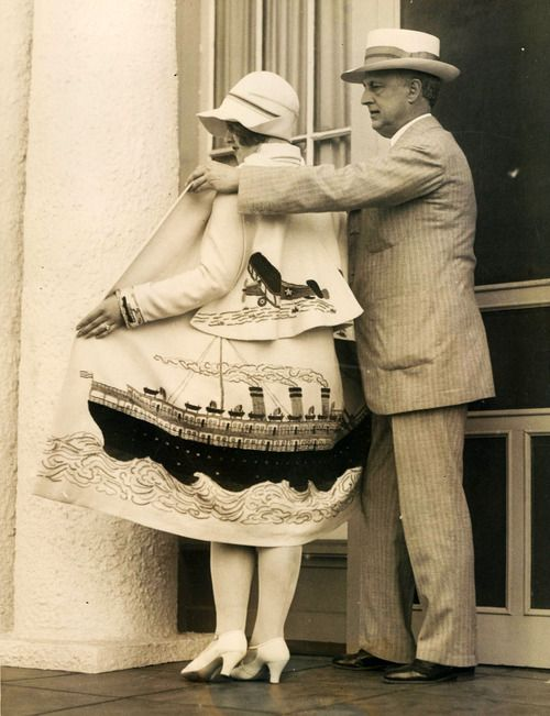 Peaches Browning and her husband, Edward West Browning showing off her unusual coat and cape, 1926.: