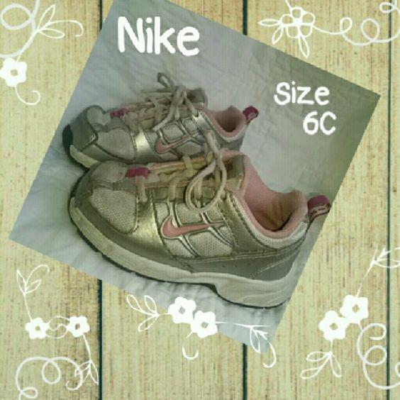 Nike Little Attest Girls Toddler Sz 6C Nike Little Attest Girls Size 6C Running Walking 318009 161 Pink White Silver Nike Shoes
