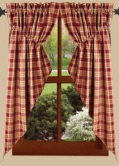 Rich Hill Plaid Gathered Swags - Primitive Home Decor - Country Curtains, Braided Rugs, Bedding and More