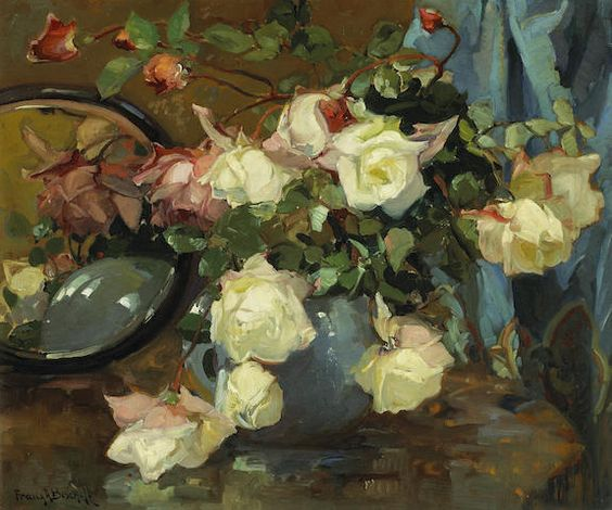 Franz A. Bischoff (1864-1929) Roses in a blue vase on a table with a mirror 20 x 24in