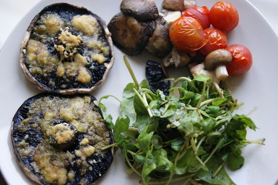 Portobello mushrooms with pesto and roasted vegetables... | Vegetarian ...