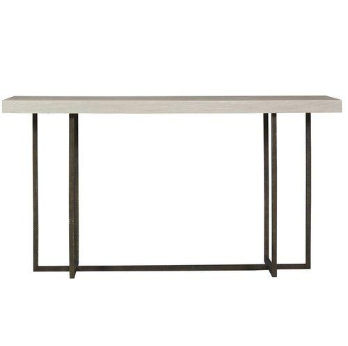 Modern Grey Oak Wood Bronze Metal Console Table Metal Console