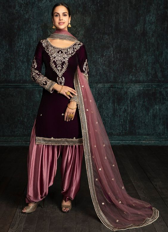 Punjabi Suit Salwar in Maroon Color