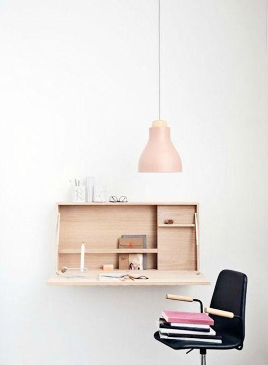 Mesas dobráveis de parede - Solução charmosa e baratinhas para home office com pouco espaço ou apartamentos pequenos.