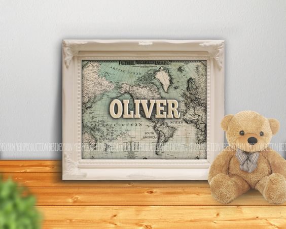 Welcome to the World Baby Shower with Old Map, Personalized Name Nursery Art, Antique Baby Shower, Name Print, Nursery Decor, Newborn Gift - pinned by pin4etsy.com