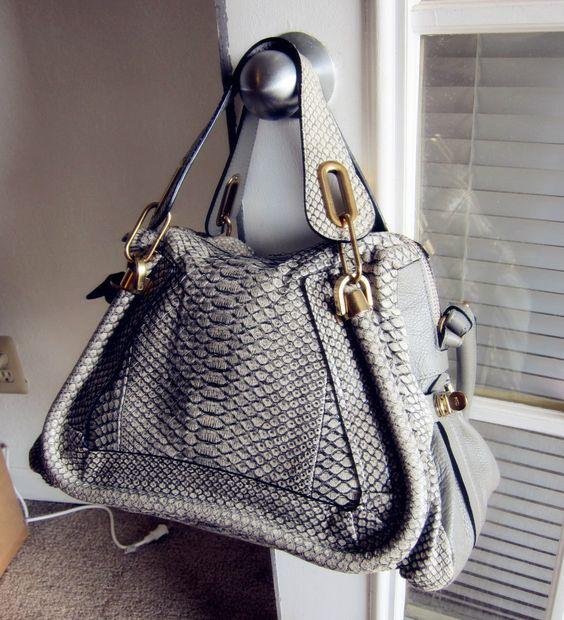 replica chloe handbags - EXOTIC PYTHON* super rare smoke gray Chloe medium Paraty bag in ...