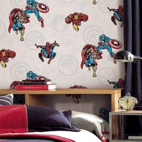 Marvel Comics Classic Peel Stick Wallpaper Lelands Wallpaper Peel And Stick Wallpaper Blue Bedding Decorating Solutions