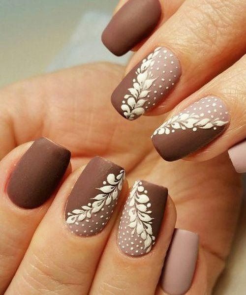 Popular Brown White Nail Art Designs White Nail Art Brown Nails Design Winter Nail Designs