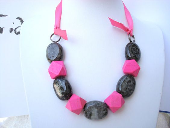 Chunky Gray and Hot Pink Ceramic and Geometric Wood by tocijewelry, $30.00