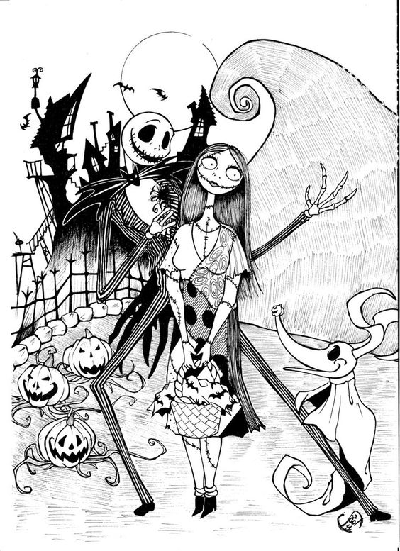 Jack and Sally Nightmare Before Christmas Coloring Pages