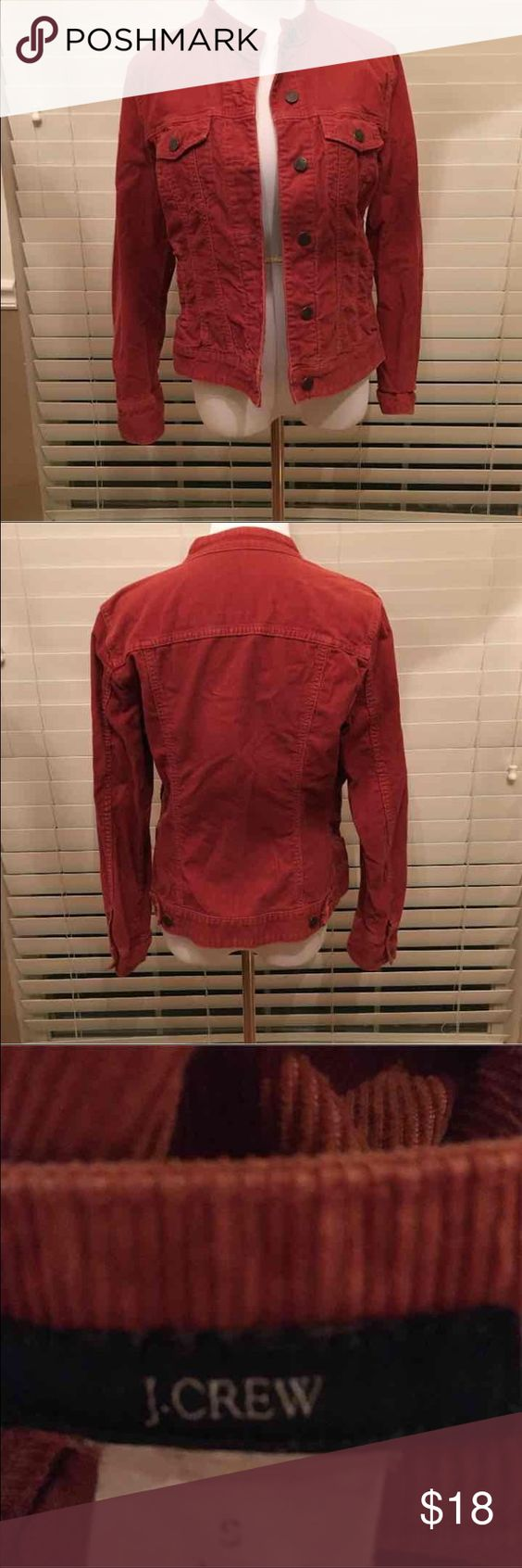 J Crew corduroy jacket This vibrant rust colored jacket is perfect for the fall months ahead. It is in excellent used condition. This jacket has a distressed quality and looks very natural. There are no stains, rips or tears. J Crew Jackets & Coats