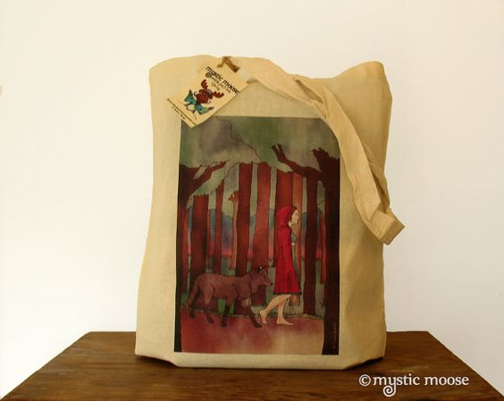 Red Riding Hood Illustration Eco Cotton Tote by MysticMooseCrafts, £4.99