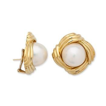 C. 1960 Vintage 16.5mm Cultured Mabe Pearl Earrings In 14kt Yellow Gold