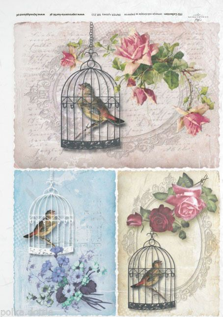 rice paper decoupage decopatch sheet vintage bird cages writing roses flowers liveintemet r. Black Bedroom Furniture Sets. Home Design Ideas