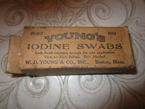 Antique 1800s YOUNG'S IODINE SWABS in Box DR Pharmaceutical medicinal Boston.