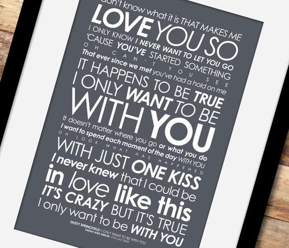 Dusty Springfield I Only Want to Be with You framed LYRICS   Etsy   Lyric  prints, Dusty springfield, Art music