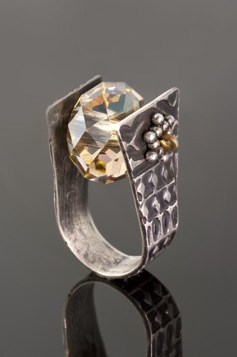 Silver And Crystal Bead Ring Designed And Created By