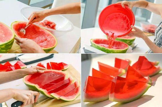 Sandía y gelatina