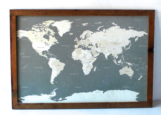 World Map I Push Pin Travel Map with Wood Frame 24x36 I Track Etsy – Map To Track Travel