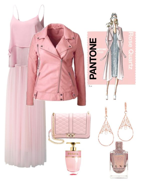 """Pinky lady!  Pantone Beauty: Rose Quartz and Serenity"" by im-karla-with-a-k ❤ liked on Polyvore featuring Chicwish, J.TOMSON, Waterford, Plukka, Prada and Rebecca Minkoff"