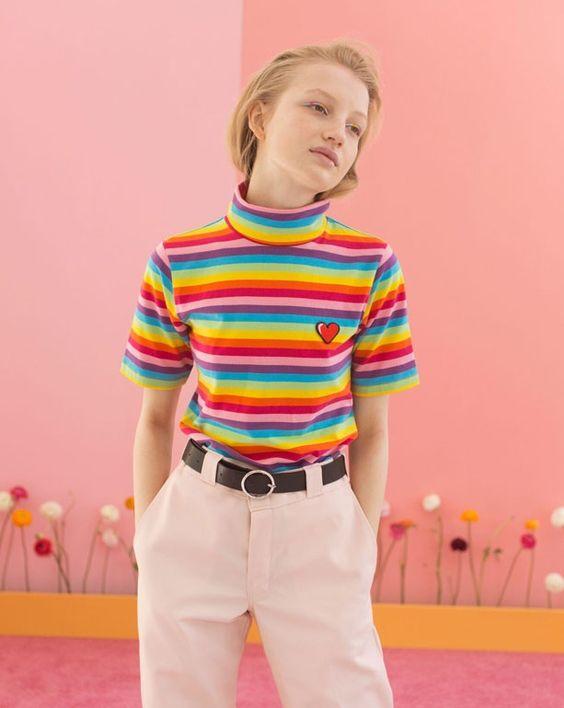 Lazy Oaf Rainbow Turtleneck T-shirt