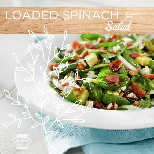 Dress up your fresh spinach for spring with sweet and savory favorites like bacon, sweet onion, avocado, gorgonzola and pecans. Simply yummy. #FastFullFlavor