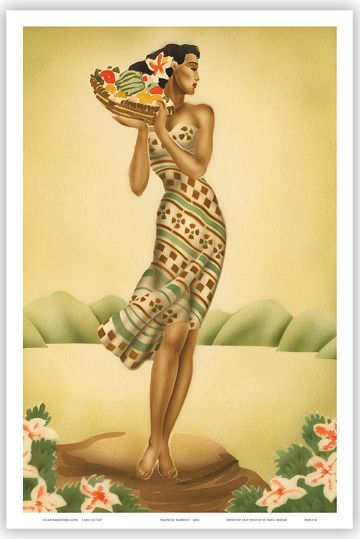 Details about HAWAIIAN Vintage Poster HAWAII Tropical Art ...