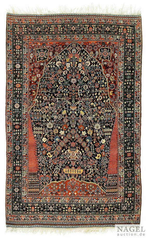"""A Rare Qashqa'i """"Millesfleurs"""" Prayer Rug, Southwest Persia, 1900 circa"""