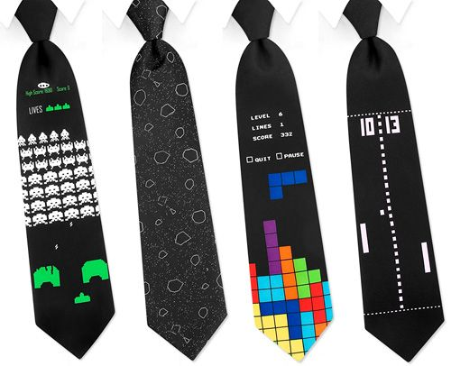 Classic gaming ties #tetris #spaceinvaders #pong