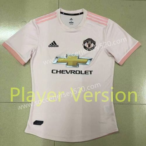 Player Version 2018 19 Manchester United Away Pink Thailand Soccer Jersey Aaa Soccer Jersey Club Shirts Soccer