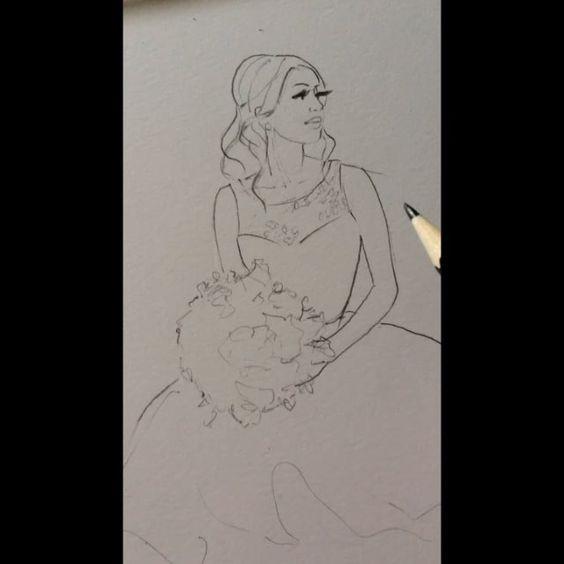 Working on lovely Michelle... #realbride #bridalillustration @mishee_corsbie  Bride wears @misshayleypaige - the Dori Dress For Illustration enquiry- please contact- karenorrillustration@gmail.com