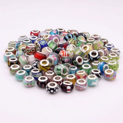 Wholesale Mixed Lot of 50 Murano Glass Beads with 925 Silver Core