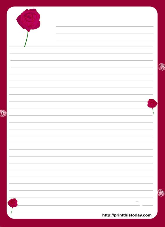 Free Valentines Stationery Paper | Valentine writing paper with ...