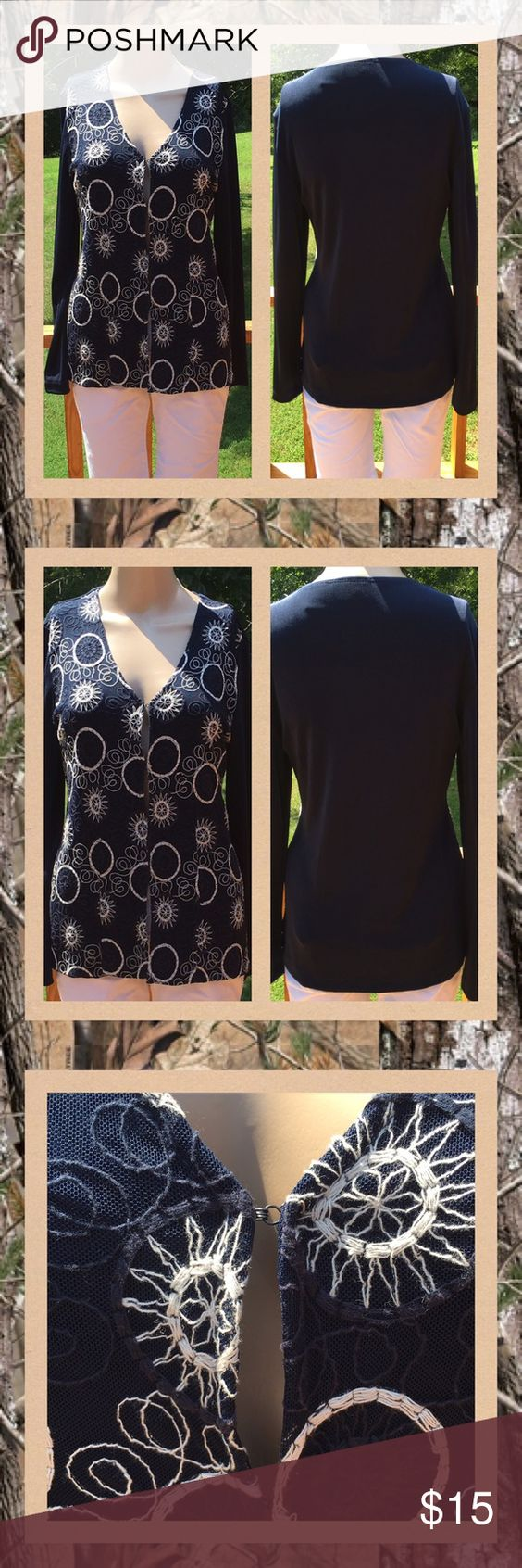 Chico's Long Sleeve Blouse Chico's long sleeve blouse, tagged size 0, which is a size small or size 4.  Navy blue with white and navy blue string designs all over blouse with hook and eye closures. Great condition and very unique. Smoke free home. Chico's Tops Blouses