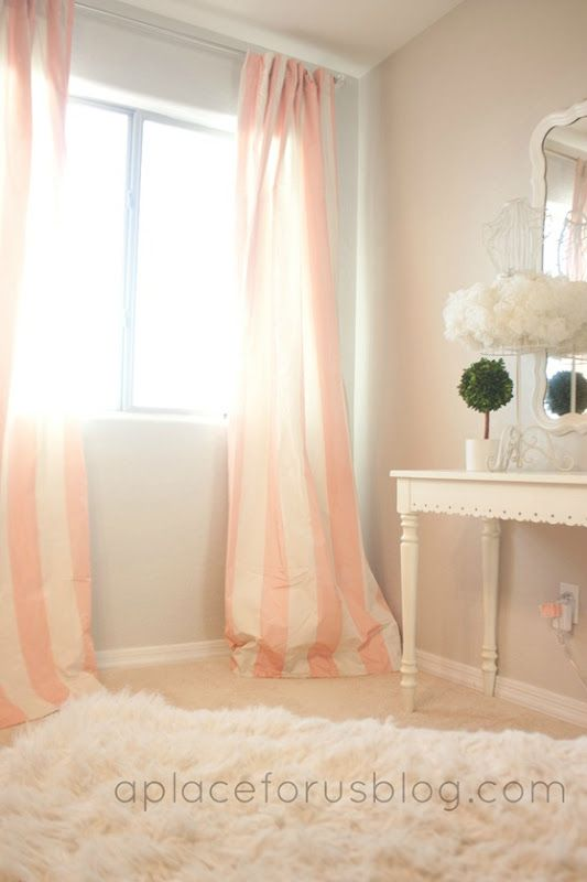 pink and white striped curtains